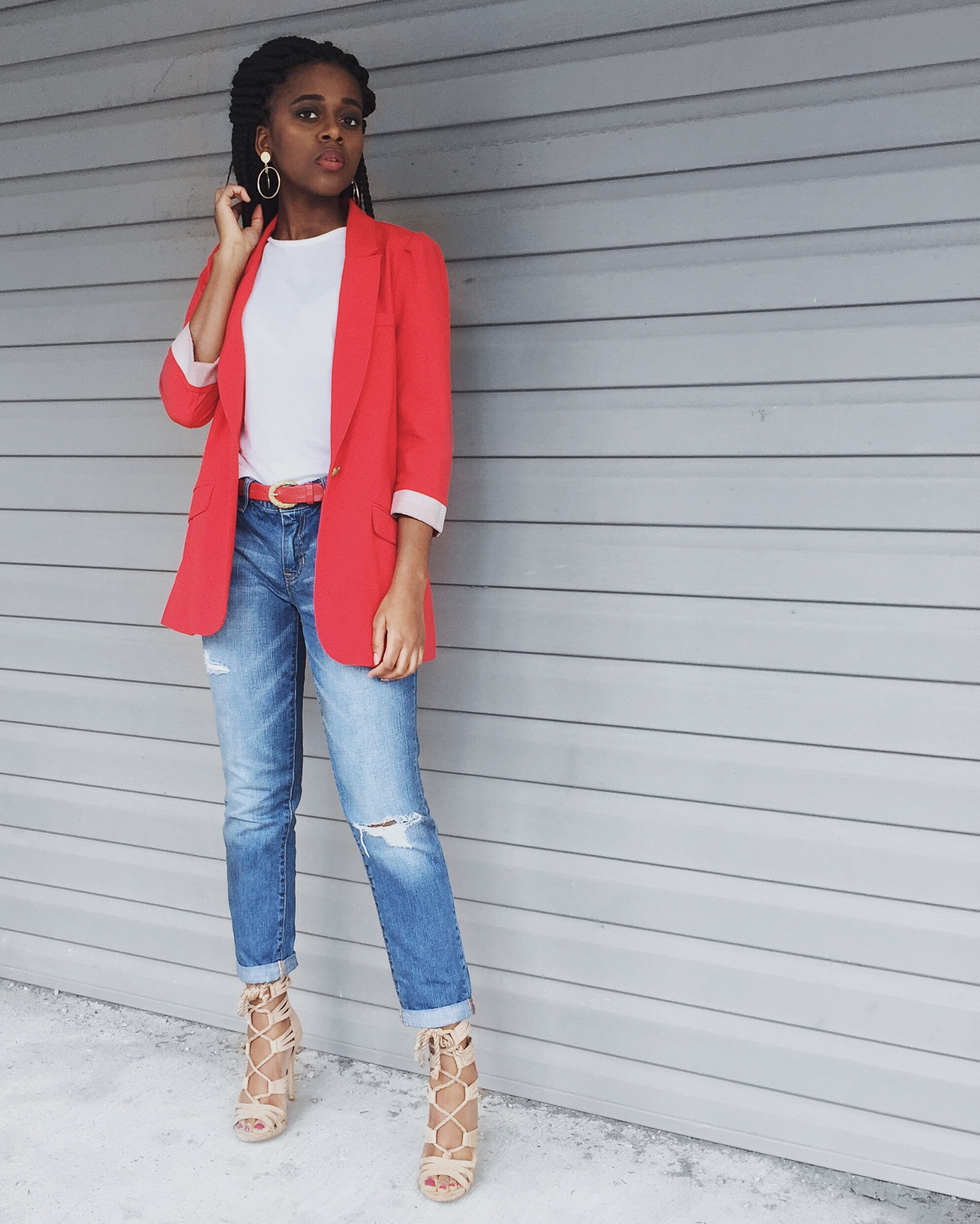 white t-shirt, red blazer, destroyed denim boyfriend jeans, red belt, gold hoop earrings, camel lace up heels