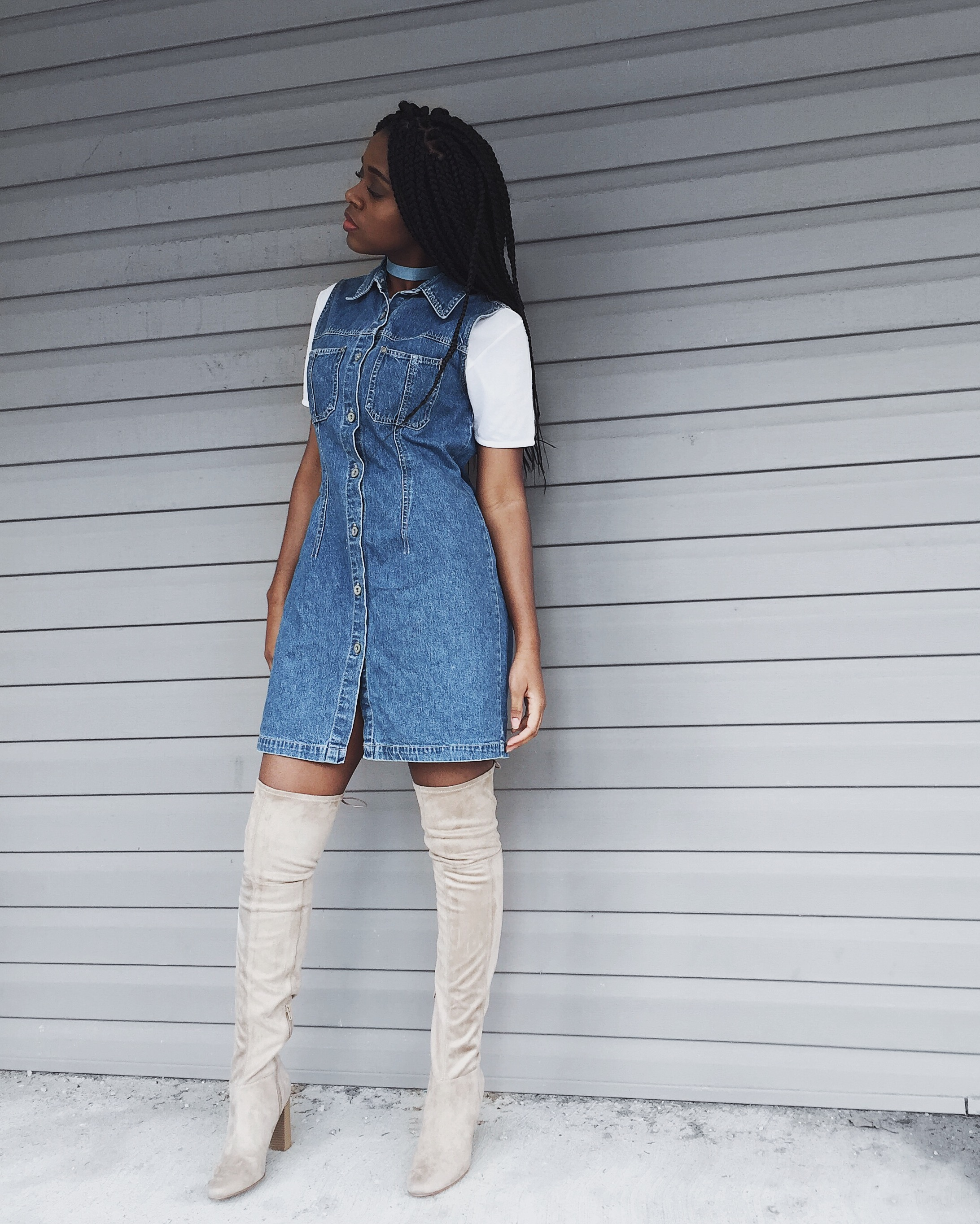 white t-shirt, denim button up dress, denim choker necklace, beige thigh high boots