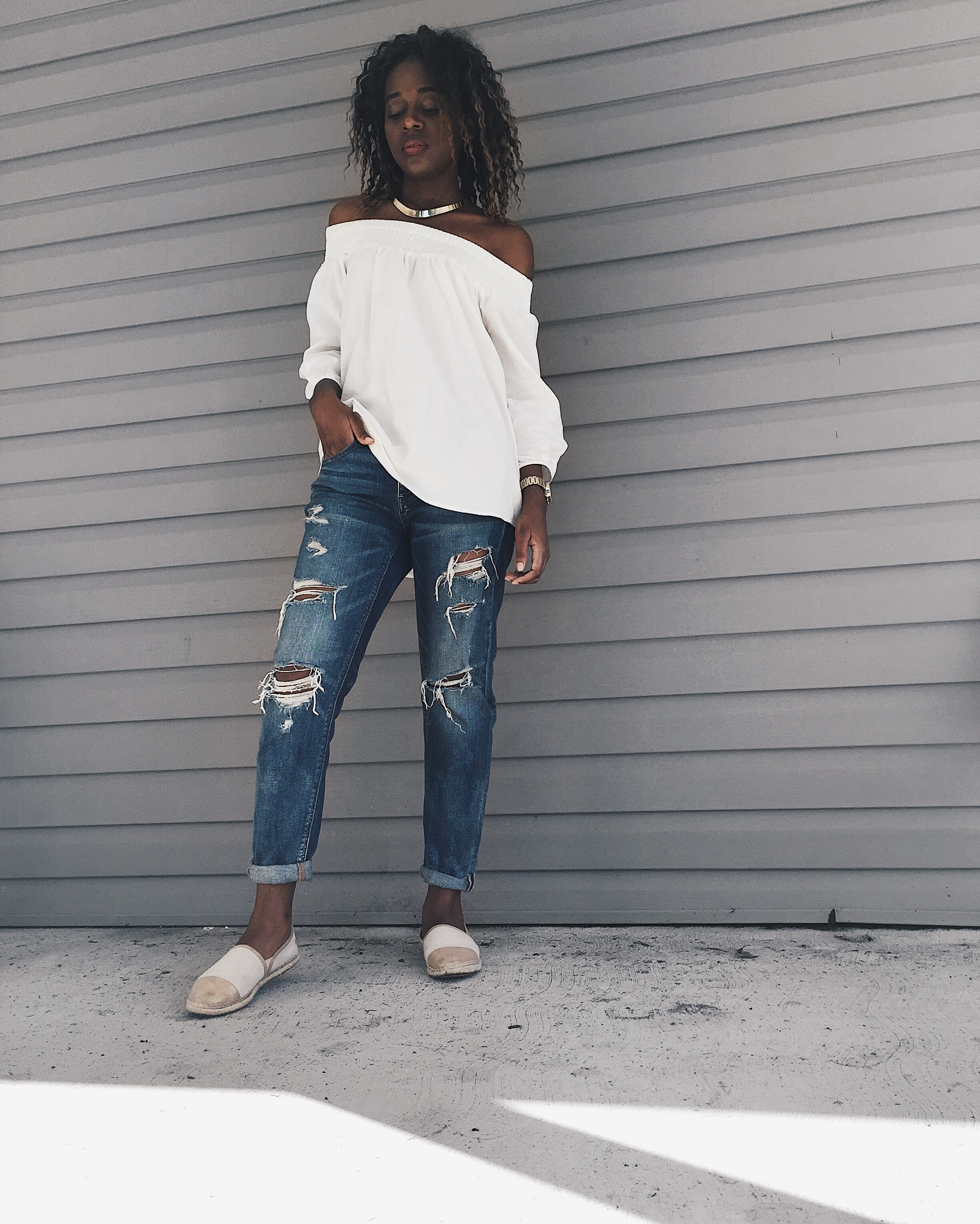 boyfriend destroyed denim, cold espadrilles, white off the shoulders top, gold michael kors watch