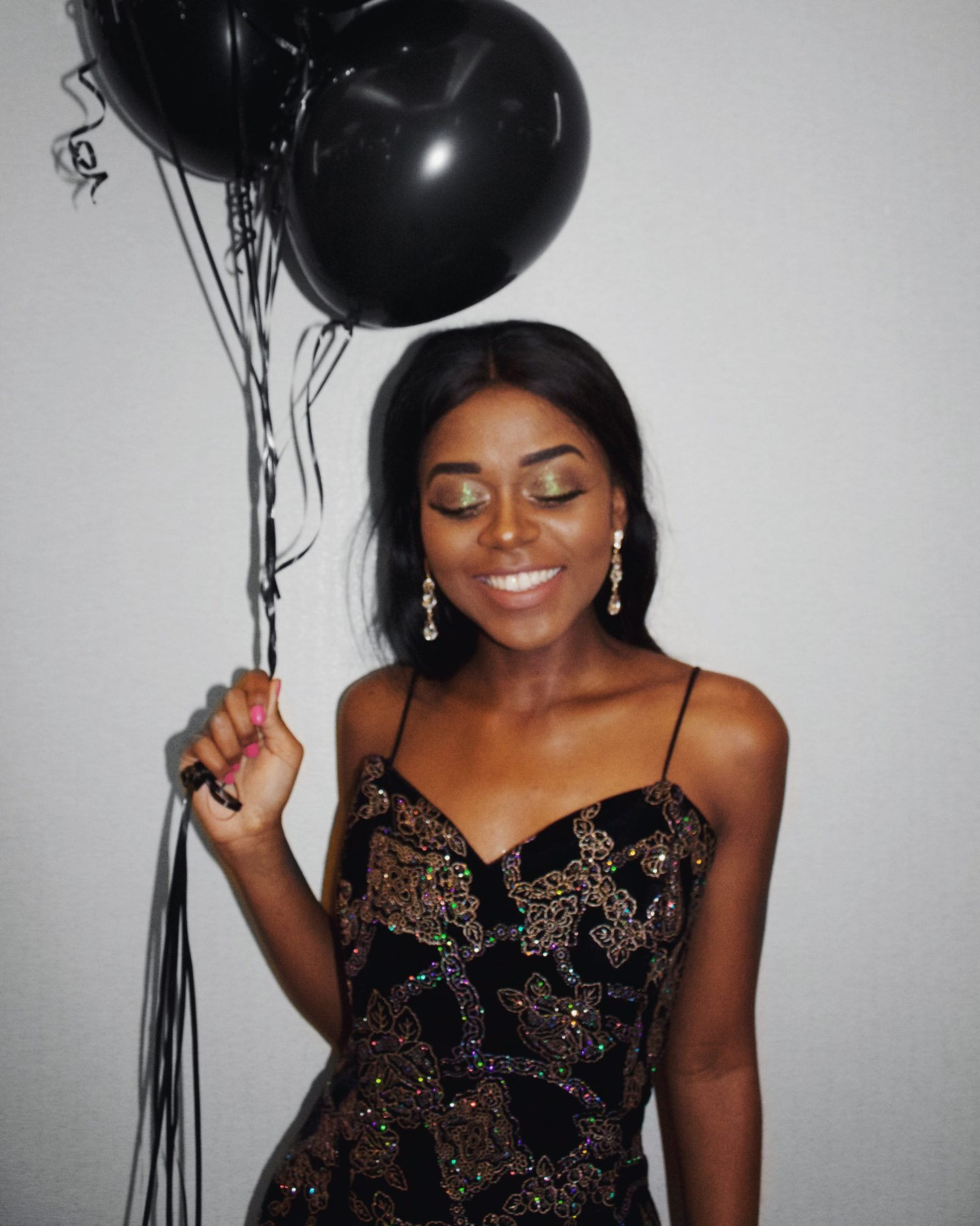 20th birthday, glitter dress, ballons
