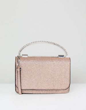 ASOS Glitter Boxy Clutch Bag With Gem Grab Handle