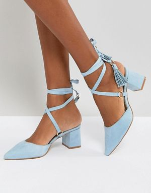 RAID Kiley Light Blue Mid Heeled Tassel Shoes