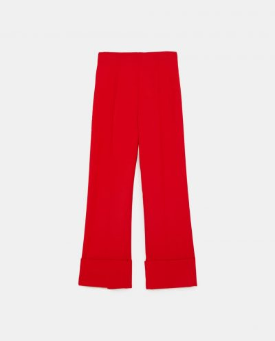 WIDE-LEG TROUSERS WITH TURN-UP HEMS