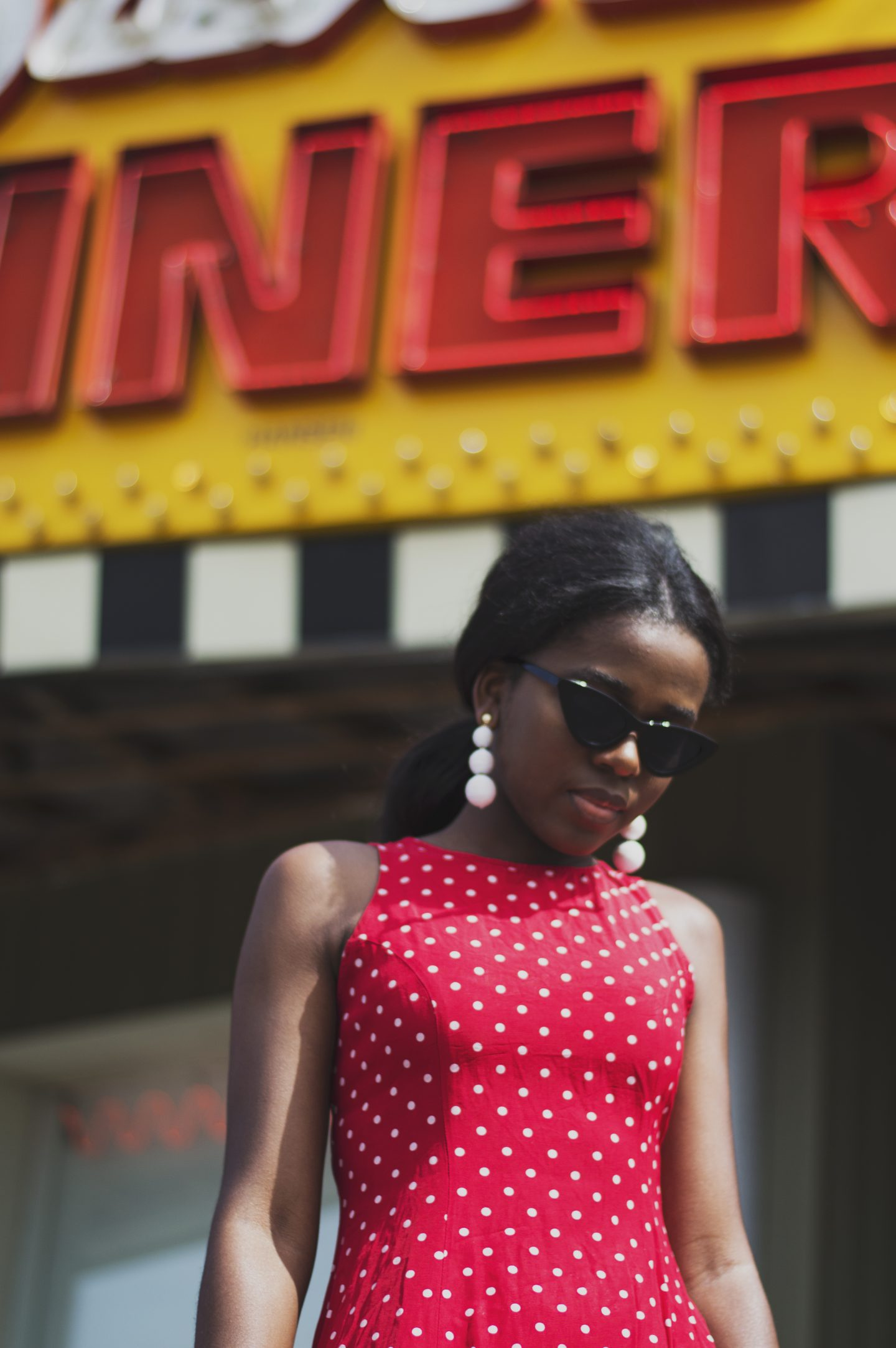dress polka dot dress, 50s fashion, diner photoshoot,